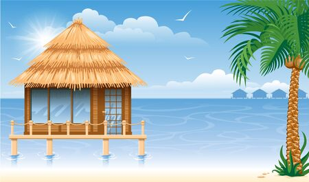 maldives island: Wooden water bungalow on coast of tropical sea. Vector illustration.