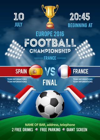 Modelo del cartel con el balón de fútbol y la bandera de Francia en el estadio. campeonato de fútbol en Francia. Copa de Fútbol Publicidad. Anuncio Deporte Evento. Coloca el texto y Emblema de participantes. Ilustración del vector.
