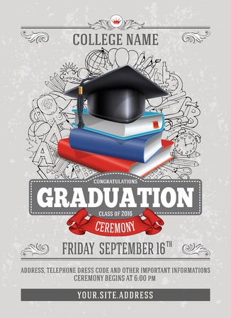 Vector template of announcement or invitation to Graduation ceremony or party with unusual realistic image of Graduation cap and stack of books. There is place for your text. Stock Illustratie