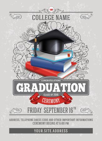 Vectormalplaatje van aankondiging of uitnodiging voor Graduatieceremonie of partij met ongebruikelijk realistisch beeld van Graduatie GLB en stapel boeken. Er is plaats voor uw tekst. Stock Illustratie