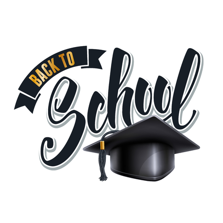 Back to school calligraphy inscription by brush with graduation cap. Hand drawn lettering. Vector illustration. Isolated on white background.