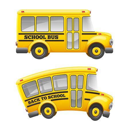 Autobus scolaire de dessin animé mignon. Isolé sur fond blanc Retour au concept de l'école. Illustration vectorielle