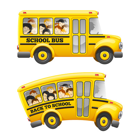 Cute cartoon school bus with cheerful pupils. Isolated on white background. Back to school concept. Vector illustration.