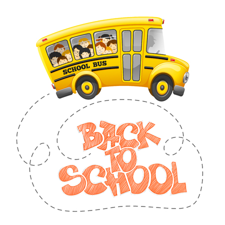 Back to school inscription by chalk and cute cartoon school bus with cheerful pupils. Hand drawn lettering. Back to school concept. Vector illustration.