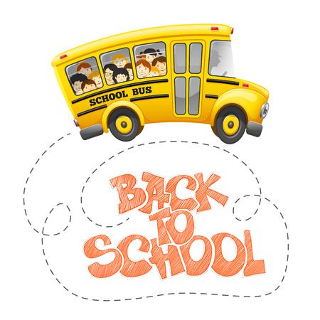 Retour à l'inscription de l'école à la craie et autobus scolaire avec des élèves joyeux. Lettrage dessiné à la main. Retour au concept de l'école. Illustration vectorielle