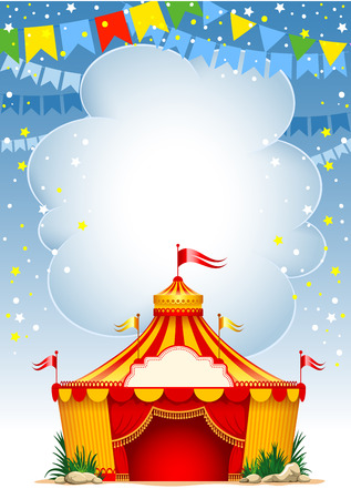 vagrant: Festive background with striped tent of vagrant circus and flags. Vector illustration.
