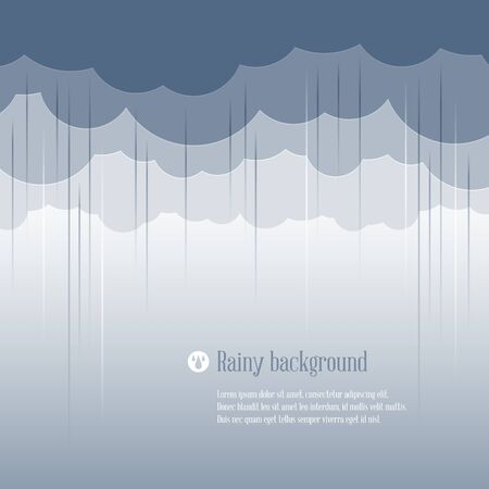 downpour: Cloud paper shape and rain, weather season background. Vector illustration.