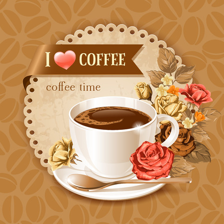 Coffee card template for restaurant, bar, cafe Ilustrace