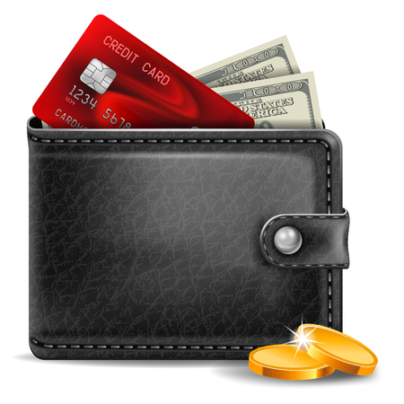 Black leather wallet with credit card and money Ilustracje wektorowe