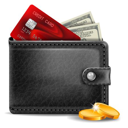 Schwarzes Leder Geldbörse mit Kreditkarte und Geld Vektorgrafik
