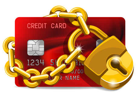 Credit card with golden padlock. Concept of protection.