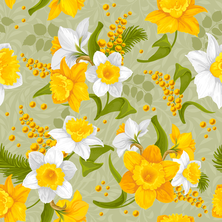 Retro flower seamless pattern - daffodils. Vector. Illustration