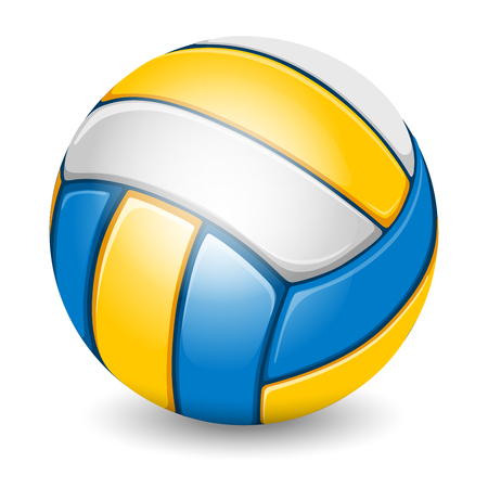 Colored Volleyball Ball. Sports equipment. Realistic Vector Illustration. Isolated on White Background.