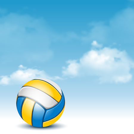 Color Volleyball Ball on Cloudy Sky Background. Realistic Vector Illustration. Illustration