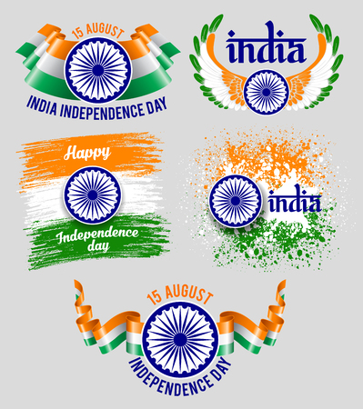 15 august: Set of emblems for indian holiday India Independence Day. Best badges for your design. Easy for edit and use. Vector illustration. Illustration