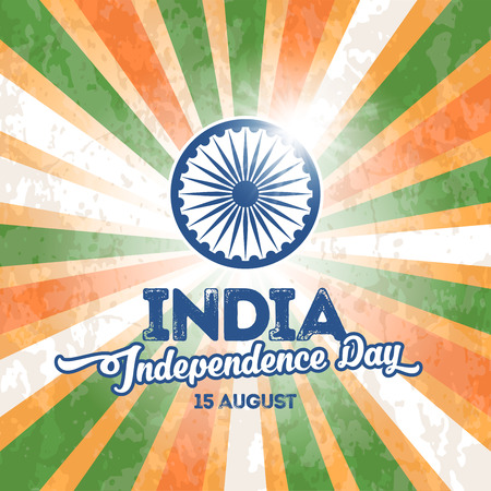 national holiday: Indian national holiday India Independence Day. 15th of August. Greeting card design. Vector illustration.