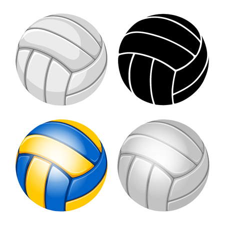 Volleyball Balls set. Sports equipment. Realistic and stylized Vector Illustration. Isolated on White Background. Illustration