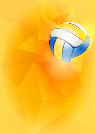 Fond vertical sur le thème du volleyball avec une balle de volleyball volante sur un fond triangulaire inhabituel. Illustration vectorielle modifiable réaliste.
