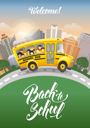 Back to school inscription and cute cartoon school bus with cheerful pupils. Modern city on background. Hand drawn lettering. Vector illustration.