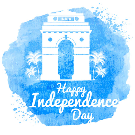 india gate: Watercolor design for indian holiday India Independence Day. With India Gate monument, one of symbols of India. Easy for edit and use. Vector illustration.