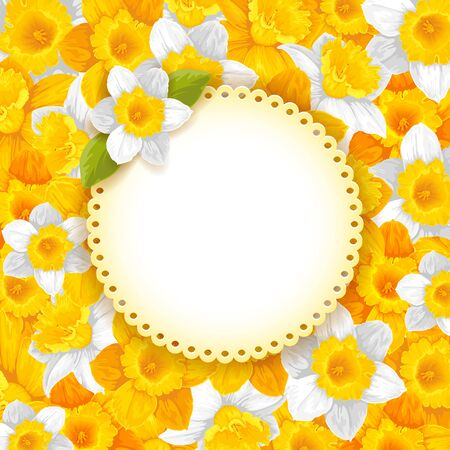 Vintage background with beautiful pattern of yellow and white daffodils. Illustration