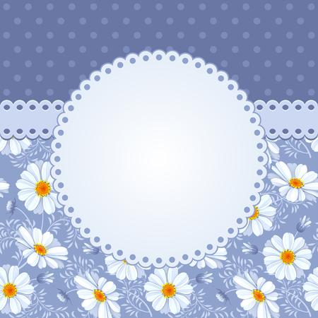 Fondo floral romántico con flores de época de margaritas Ilustración de vector