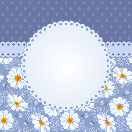 Romantic floral background with vintage flowers of daisies Vektorové ilustrace