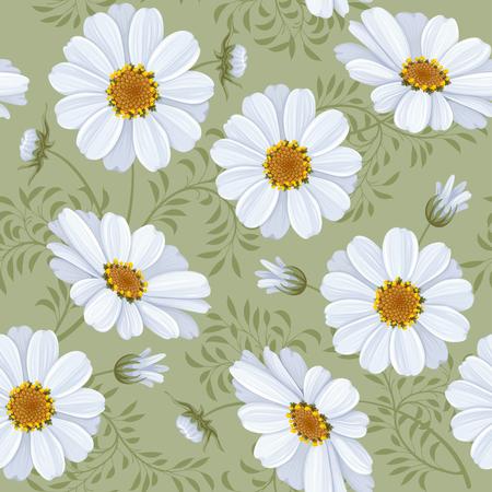 daisy vector: Retro flower seamless pattern - daisy. Vector. Easy to edit.