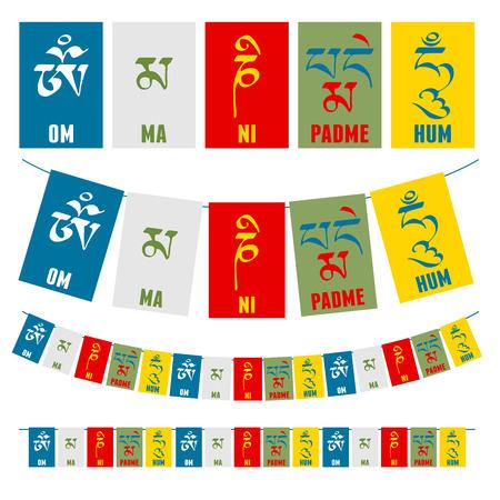 """Sanskriet kalligrafie van de boeddhistische Mantra """"Om Mani Padme Hum"""" op veelkleurige vlaggen."""
