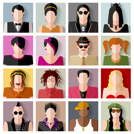 subcultures: People icon set. Different subcultures in trendy flat style.