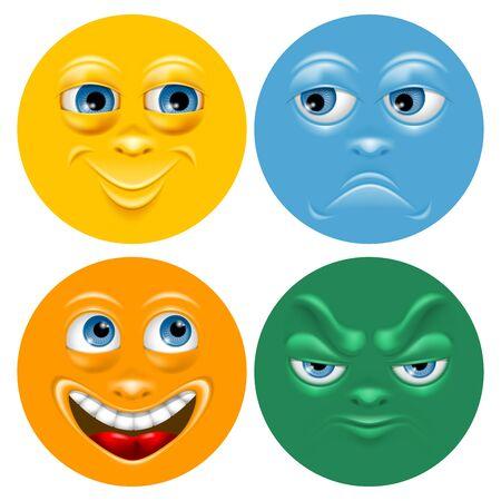 negative emotion: Cartoon face set with positive and negative emotion. Vector illustration.