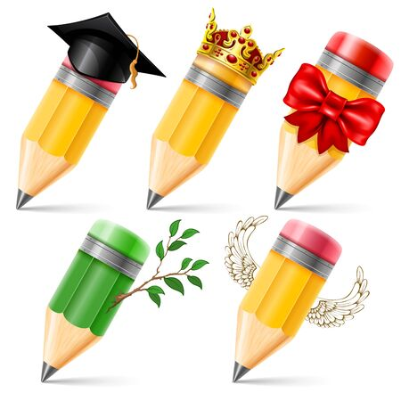 Set of wooden sharpened pencils in different images isolated on white background. Detailed vector illustration. Illustration