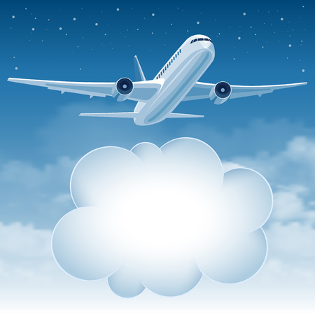 passenger plane: Passenger plane flying in the blue sky over white clouds. There is a place for your text.