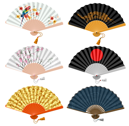 Decorative folding fan set for man and woman. Vector illustration. Isolated on white background. Ilustração