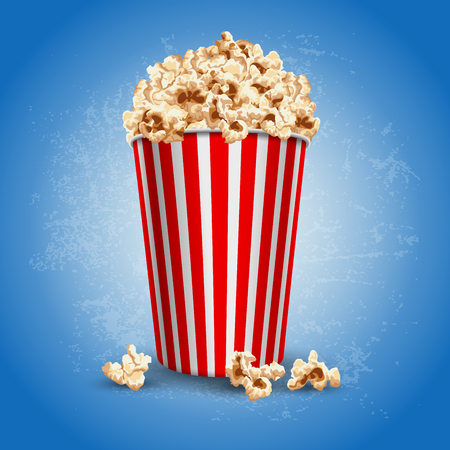 Striped carton bowl filled of popcorn Vectores