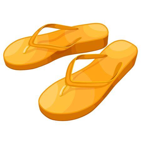 Yellow flip flops isolated on white background Illustration