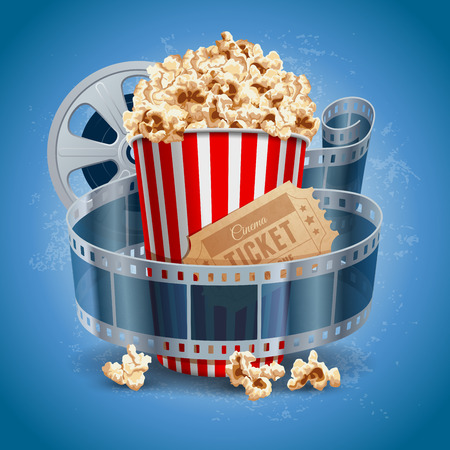 Popcorn bowl, film strip and ticket. Cinema attributes. Detailed vector illustration.