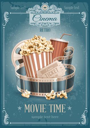 Popcorn kom, beschikbare kop voor dranken met stro, filmstrook en ticket. Cinema attributen. Gedetailleerde vector illustratie. Stock Illustratie