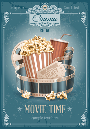 Popcorn bowl, disposable cup for drinks with straw, film strip and ticket. Cinema attributes. Detailed vector illustration.