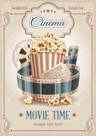 tazón de palomitas de maíz, tira de la película y la entrada. Atributos del cine. Ilustración detallada del vector.