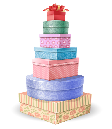 Beautifully decorated gift boxes stacked on each other