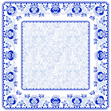 gzhel: Beautiful background and frame in Russian style gzhel. Illustration