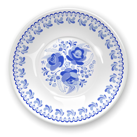 white plate: White plate with russian ornament in gzhel style. Vector illustration. Illustration