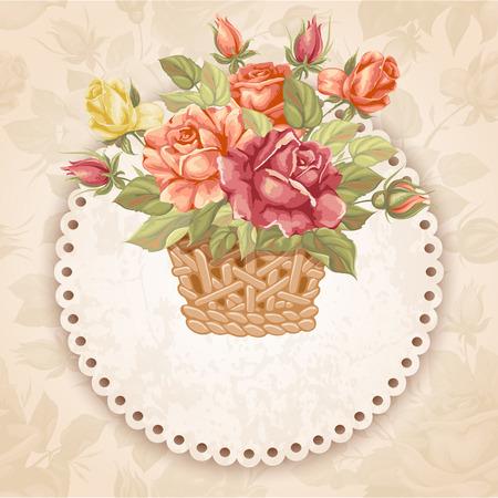 estilo retro de lujo tarjeta de felicitación floral - rosas en la cesta. Ilustración del vector.