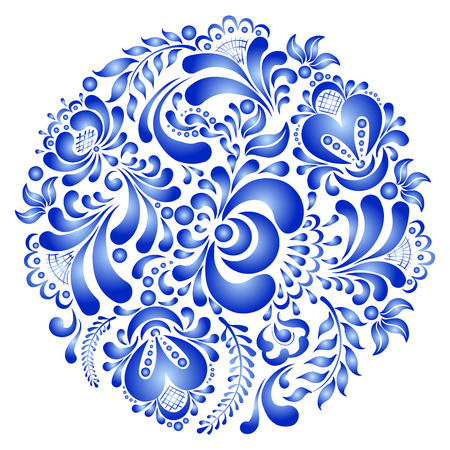 Beautiful round ornament in Russian style gzhel.