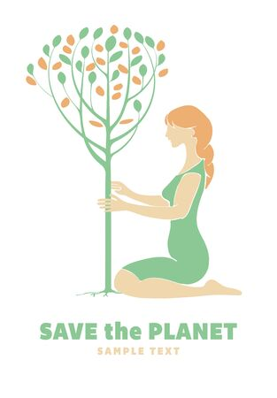 planting a tree: Girl planting a tree. Ecology concept. Illustration