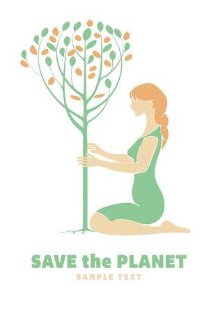 plantando un arbol: Muchacha que planta un árbol. Concepto de la ecología. Vectores