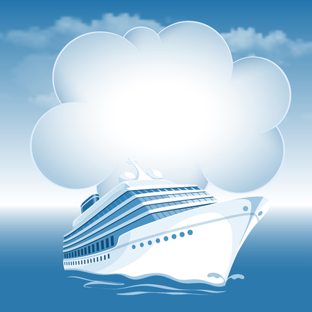 Passenger cruise liner moving under the blue sky and white clouds. There is a place for your text. Illustration