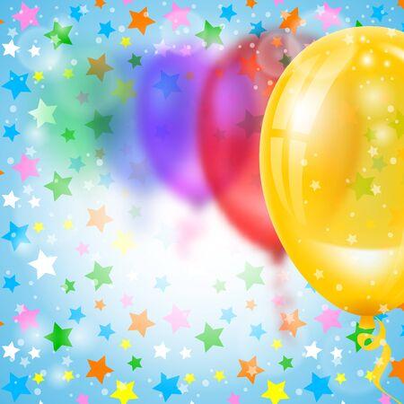 Fondo festivo con globos multicolores. Efecto borroso Ilustración vectorial
