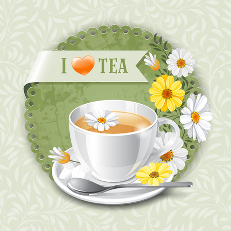 Tea card template for restaurant, cafe, bar Vectores